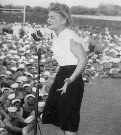 Betty Hutton - performing for sailors at Naval Air Station Kaneohe, Oahu